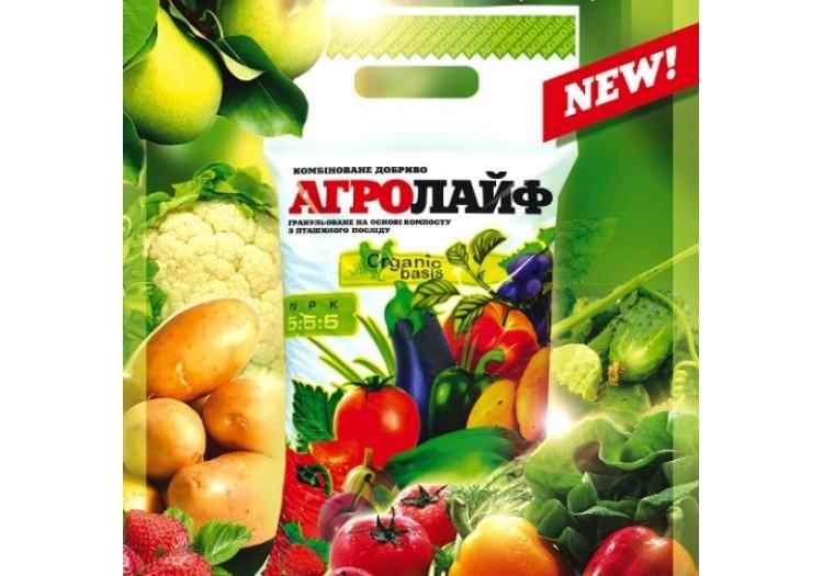 Удобрение Агролайф N:P:K 5:5:5, 25 кг органоминеральное на основе компоста - 20740
